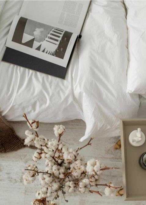 Белый комплект постельного белья Home me Голова в облаках из хлопка, фото