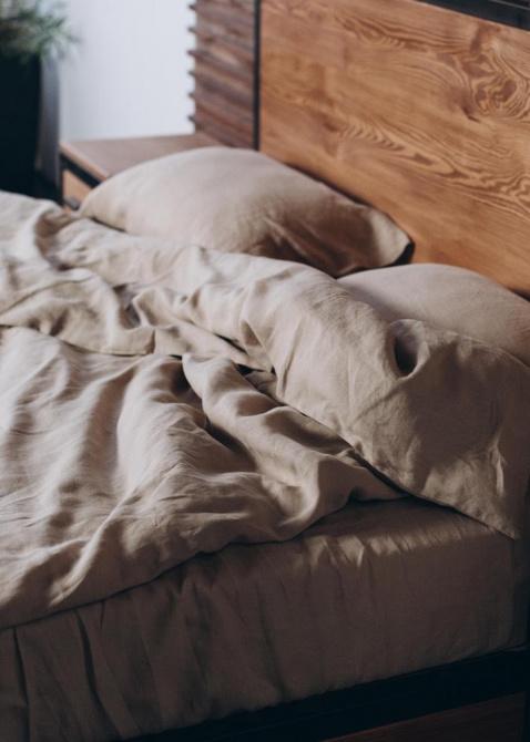 Комплект постельного белья Home me Миндаль с молоком из льна бежевого цвета, фото