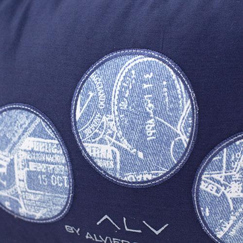 Декоративная подушка Bic Ricami синего цвета с набивным рисунком, фото