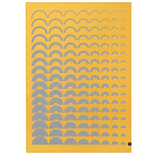 Плед Woolkrafts двусторонний желто-серый с орнаментом, фото