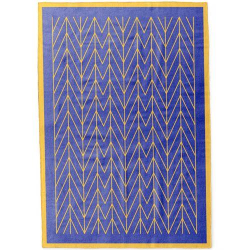 Плед Woolkrafts двусторонний сине-желтый с геометрическим орнаментом, фото