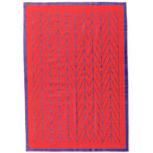 Плед Woolkrafts двусторонний сине-красный с геометрическим орнаментом, фото