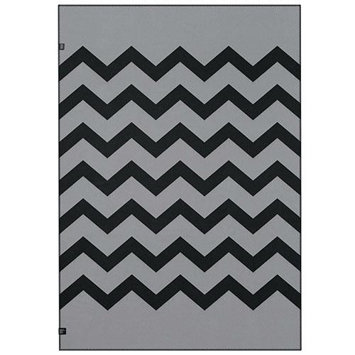 Плед Woolkrafts двусторонний черно-серый с зигзагом, фото