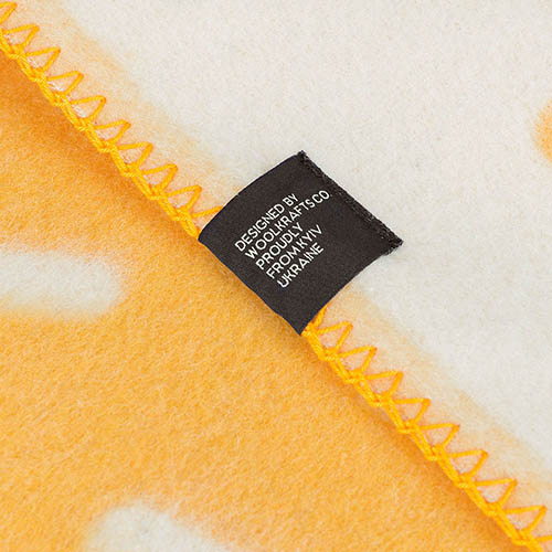 Плед Woolkrafts Honey двухсторонний желтый с орнаментом, фото