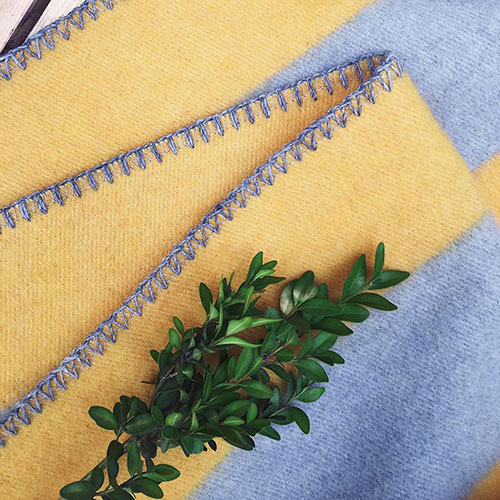 Плед Woolkrafts Stripes желтый с серым, фото