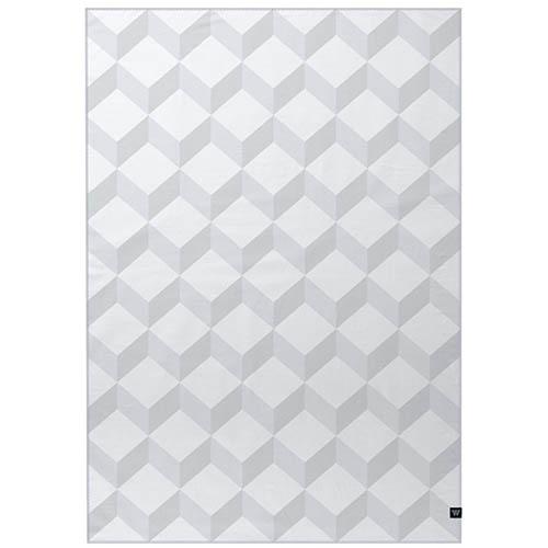Серый двусторонний плед Woolkrafts Cotton Collection Blocks с объемным принтом, фото