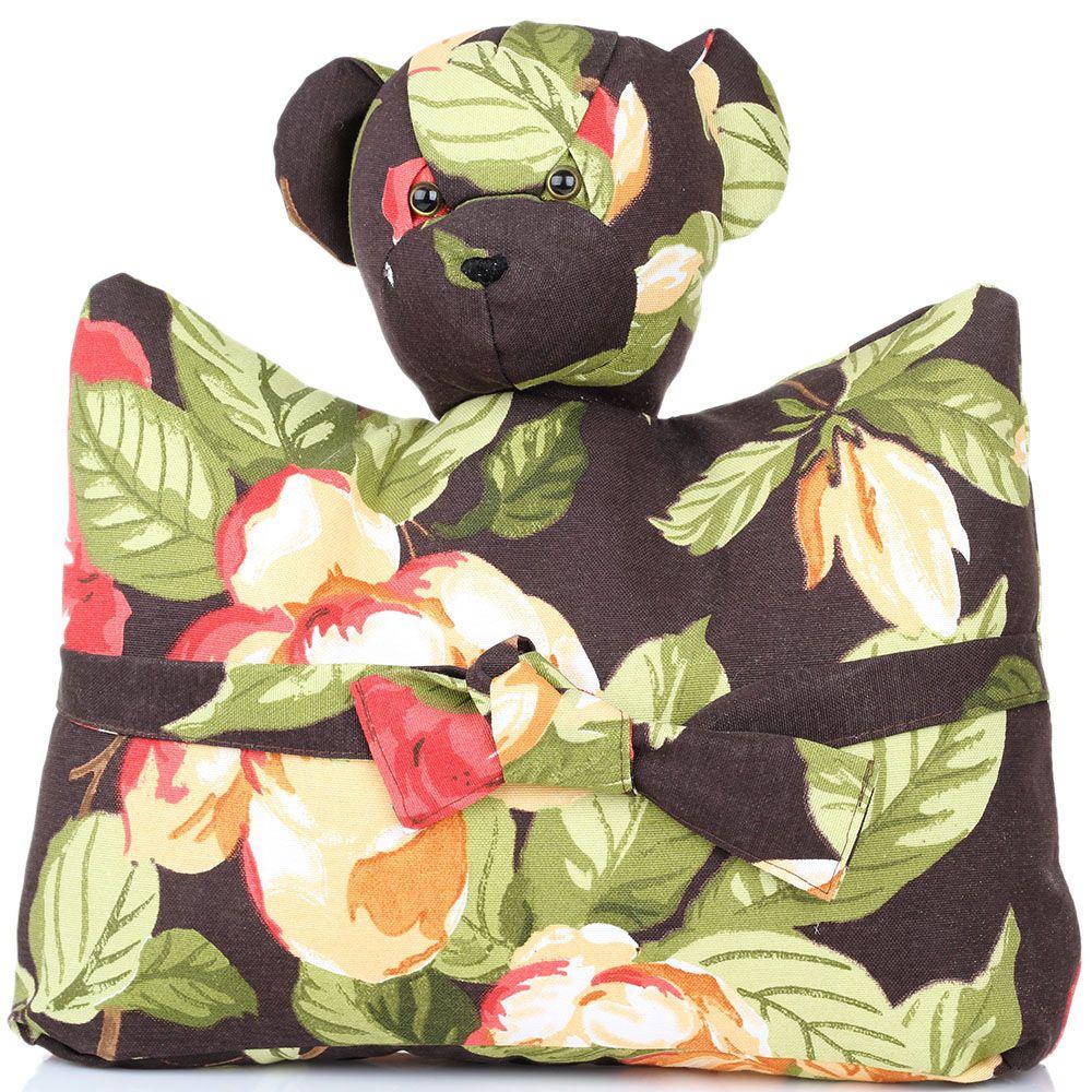 Мишка-подушка коричневого цвета с цветочным принтом