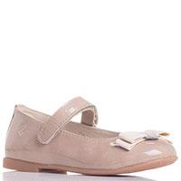 Бежевые туфли Naturino из лаковой кожи с бантиком, фото