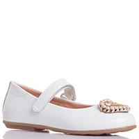 Белые туфли Moschino с золотистым декором, фото