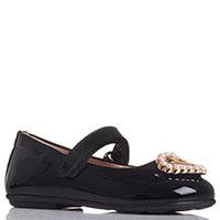 Черные лаковые туфли Moschino с золотистым декором, фото