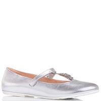 Серебристые туфли Moschino с блестящим декором, фото