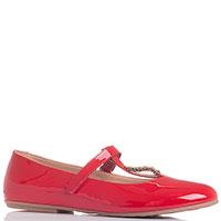 Красные лаковые туфли Moschino с металлическим декором, фото