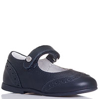 Туфли на липучках Naturino из синей кожи с декоративной перфорацией, фото