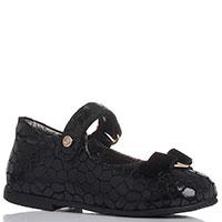 Черные туфли с бантиком Naturino из кожи с обработкой, фото