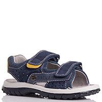 Замшевые сандалии Naturino синего цвета с перфорацией, фото