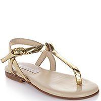 Золотистые босоножки Dolce&Gabbana кожаные с мягкой стелькой, фото