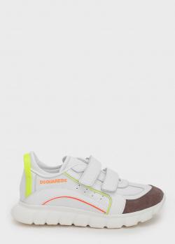 Белые кроссовки Dsquared2 с яркими вставками, фото