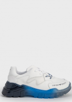 Белые детские кроссовки Emporio Armani с синей подошвой, фото