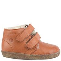 Коричневые кожаные ботинки Falcotto на меху и на липучках, фото