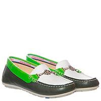 Кожаные мокасины Roberto Cavalli с зелеными вставками, фото