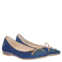 Балетки из лаковой кожи с замшевым носочком в стазах 1 Classe синего цвета, фото