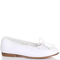 Балетки с закругленным носочком Gallucci из белой кожи, фото