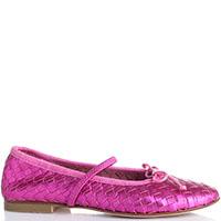 Розовые кожаные балетки Gallucci на резинке, фото