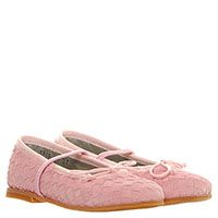 Туфли из плетеной замши розового цвета Gallucci на резинке, фото