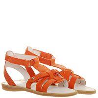Босоножки из кожи оранжевого цвета Naturino на липучках, фото