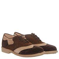 Замшевые туфли-броги коричневого цвета с бежевыми вставками Gallucci, фото