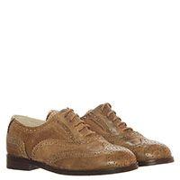 Туфли-броги из кожи бежевого цвета на шнуровке Gallucci с перфорацией, фото