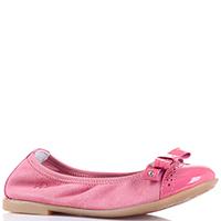 Замшевые балетки Naturino розового цвета с лаковым носочком, фото