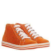 Кеды из замши оранжевого цвета с перфорацией Naturino на толстой подошве, фото