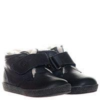 Синие кожаные ботинки на меху Falcotto и на липучке, фото