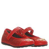 Туфли из кожи красного цвета с фирменной металлической надписью Moschino на ремешке с липучкой, фото