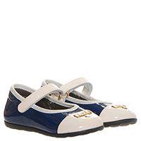Туфли из лаковой кожи синего цвета с белым носочком Moschino, фото
