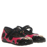 Туфли из кожи розового цвета с леопардовым принтом и лаковым носочком Moschino, фото