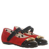 Замшевые туфли красного цвета с буквами на лаковом носочке Moschino , фото