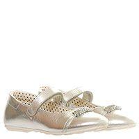 Кожаные туфли серебристого цвета на ремешке с липучкой Moschino с металлическими буквами на носочке, фото