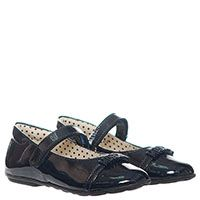 Синие туфли из лаковой кожи на ремешке с липучкой Moschino с буквами на носочке, фото