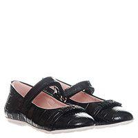 Кожаные туфли черного цвета с тиснением под рептилию Moschino, фото
