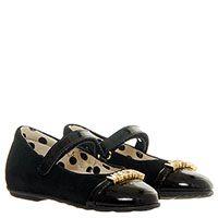 Замшевые черные туфли с лаковым носочком Moschino на ремешке с липучкой, фото