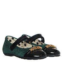 Замшевые туфли зеленого цвета с металлическими буквами на лаковом носочке Moschino , фото