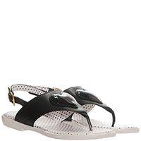 Кожаные сандалии черного цвета Moschino с лаковым сердечком, фото