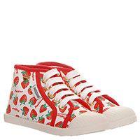 Высокие кеды из текстиля с ярким принтом Moschino на шнуровке с резиновым носочком, фото