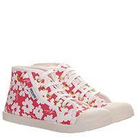 Кеды из текстиля с цветочным принтом розового цвета Moschino на шнуровке, фото