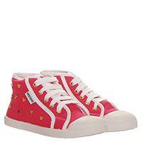 Кеды из текстиля розового цвета Moschino на шнуровке с резиновым носочком, фото