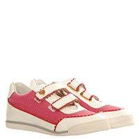 Кроссовки из текстиля розового цвета с кожаными деталями Moschino на липучках, фото