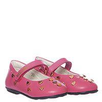 Кожаные розовые туфли на липучках Moschino с декором из мелких металлических сердечек, фото