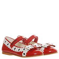 Туфли из лаковой кожи красного цвета с контрастным декором и бантом Moschino, фото